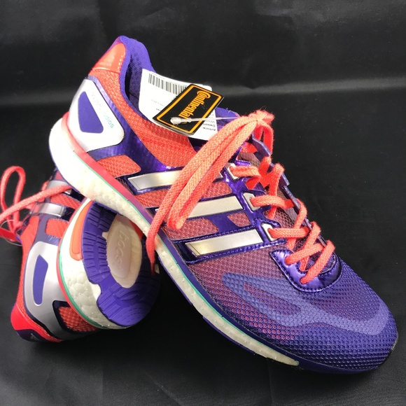 171738afa7f NWT Adidas ADIOS Boost Racing Flats Purple Coral 9
